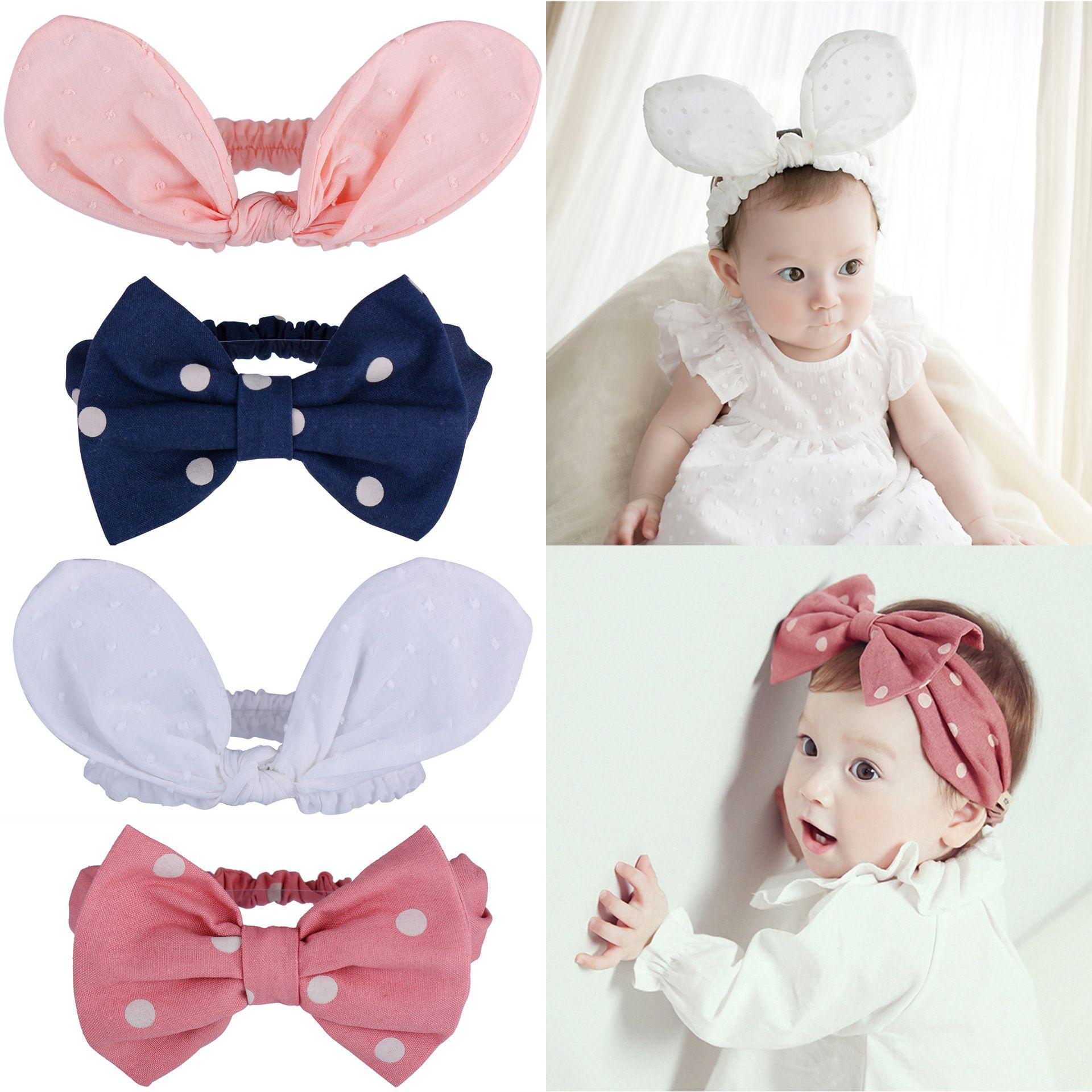 Baby Headbands Korean Girls Big Dot Bow Elastic Bunny Ear Headbands Children Kids Hair Accessories Cotton Turban Knot Hairbands KHA529