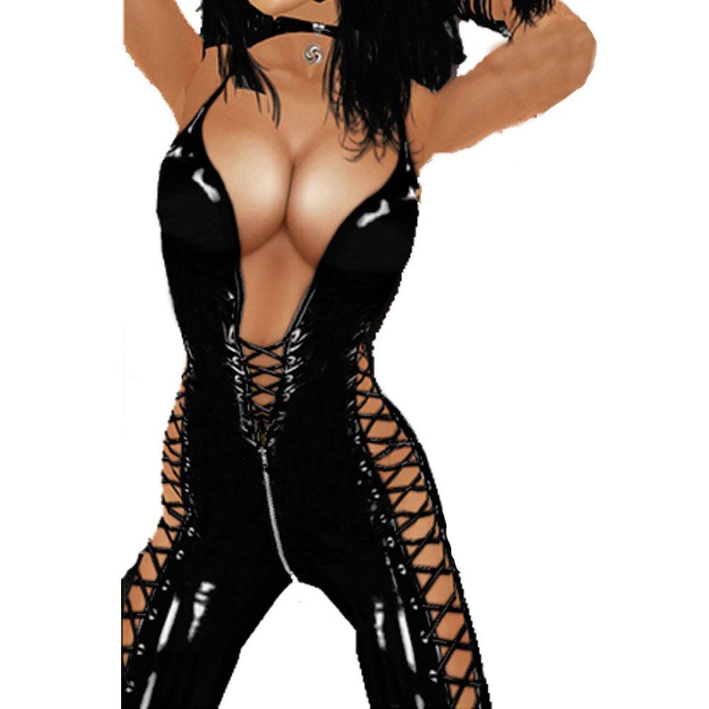 Novelty Style Women Sexy Lace Up Costume Shiny Black Catsuit Dance Clubwear Sleeveless Jumpsuit Open Back Leotard Latex Like Bodysuits