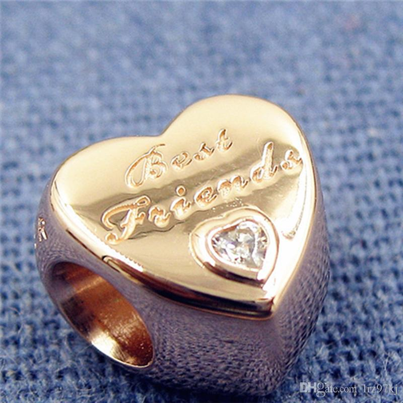 Rose Gold plated Friendship Heart Charm Bead with Clear Cz Fits European Pandora Jewelry Bracelets & Necklaces Necklaces & Pendants