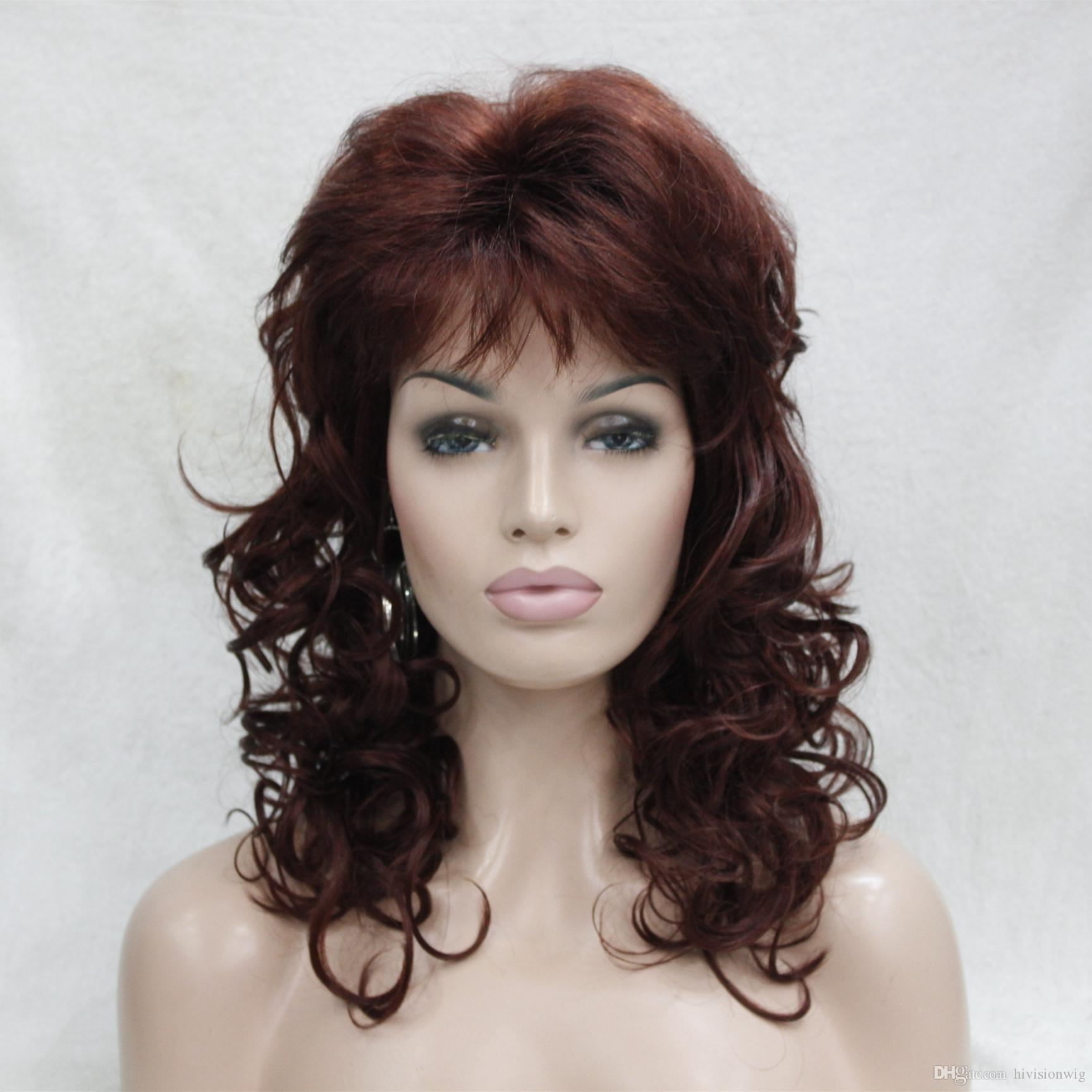 Hivision 2017 New charming fashion charming Auburn Red medium length curly women's bangs wig