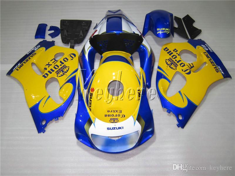Kit carénage de carénage pour Suzuki GSXR600 96 97 98 99 ensemble carénage bleu jaune GSXR750 1996-1999 OI19