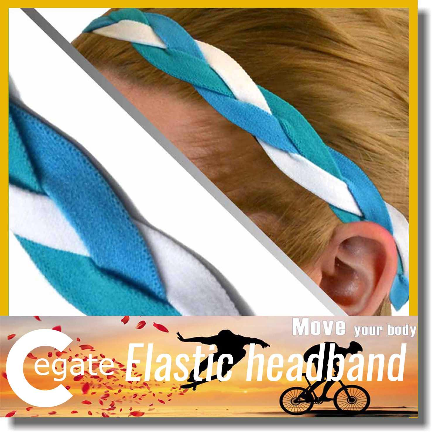 2016 new non slip headband different colored elastic weave braided headbands free shipping