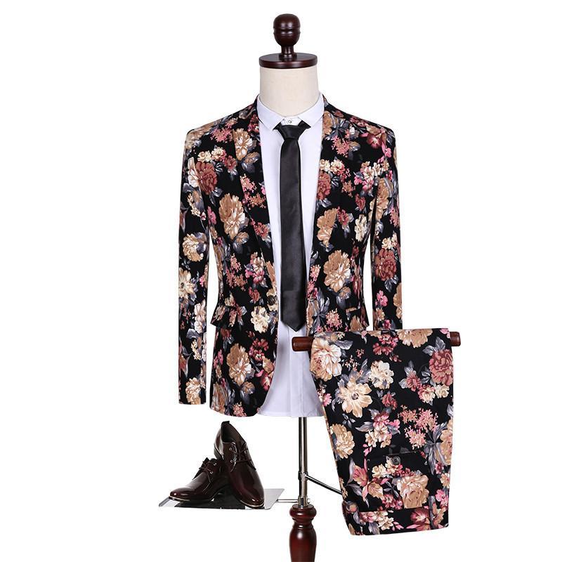 Wholesale- spring/autumn British two piece suit men's leisure flower print vintage blazer jacket+floral dress pants sets male slim suits