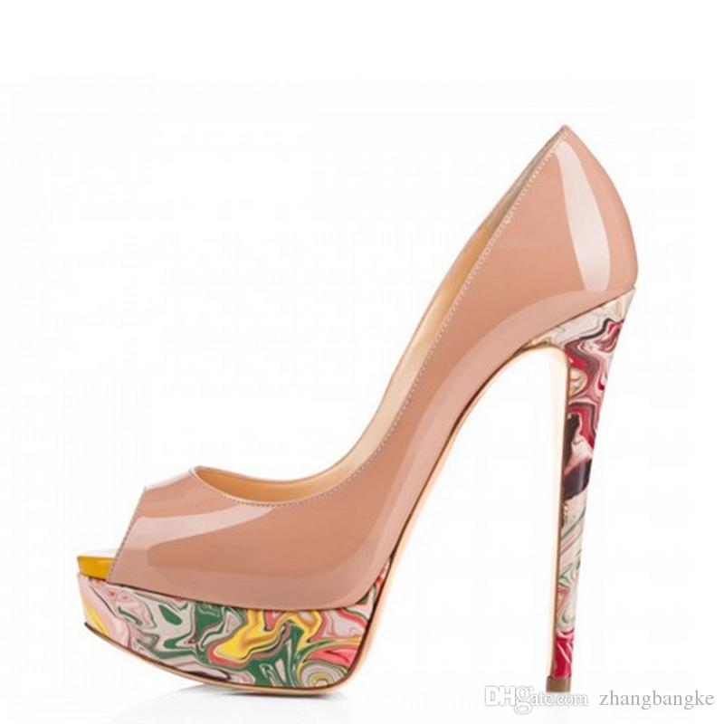 2017 ZK shoes peep-toe stiletto sandals women pumps with 4.5cm water-resistance platform 15cm height heel solid color size US4~12.5