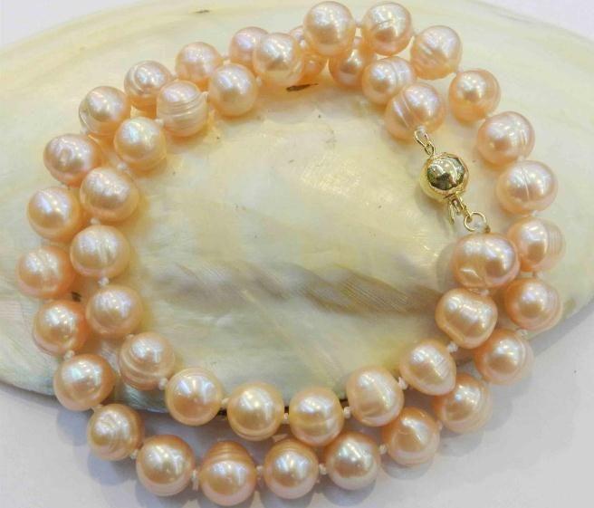 8-9mm natürliche rosafarbene barocke Perlen-Halskette 18 Zoll 14k Gold-Schließe