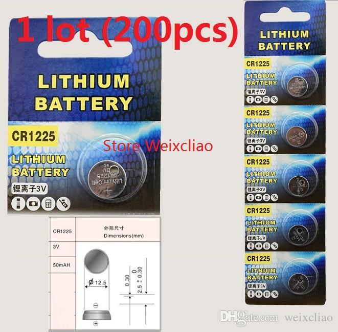 200 قطع 1 وحدة cr1225 3 فولت بطارية ليثيوم أيون زر خلية البطارية cr 1225 3 فولت بطاريات ليثيوم أيون عملة شحن مجاني
