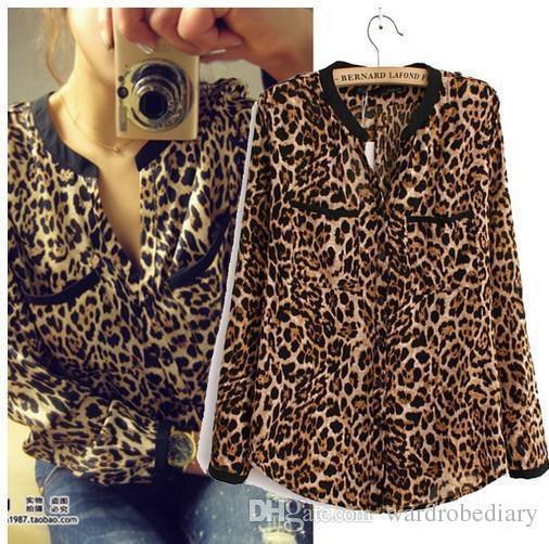 Fashion Blouses Shirts Women Wild Leopard print chiffon blouse lady sexy Long-sleeve top shirt loose plus size V neck leopard blouse Apparel