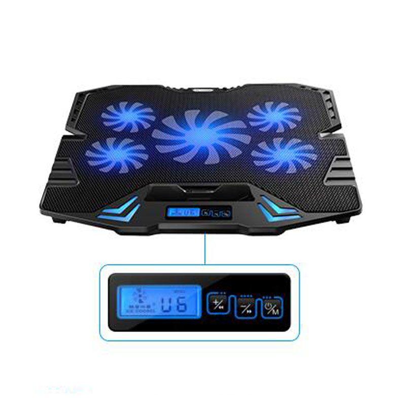 Nuevo 12-15.6 pulgadas portátil Cooling Pad Laptop cooler USB Fan con 5 ventiladores de refrigeración Pantalla LED Light Notebook Stand y Quiet Fixture para computadora portátil