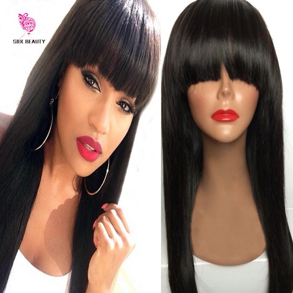 Прямые кружевные фронт парик перуанские девственные волосы полная бахрома волосы человека человеческие волосы без глиной полной кружевной парик с ударами отбеленные узлы для чернокожих женщин