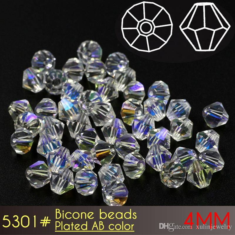 beads for jewelry making glass Bicone Beads 4mm AB Colors A5301 120pcs/set pointed jewelry crystal beads