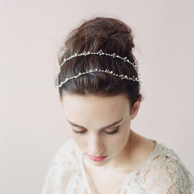 Brindilles Miel Coiffures De Mariage Avec Des Perles Naturelles Strass Femmes Peigne De Cheveux De Mariage Diadèmes De Mariée Cheveux Accessoires # O010