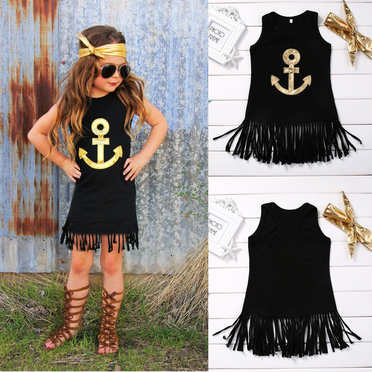 hot selling girl dress Anchor Sleeveless Baby Girls black top Toddler Kids sleeveless cool Dress Casual Party Wedding Age 1-6Year wholesale