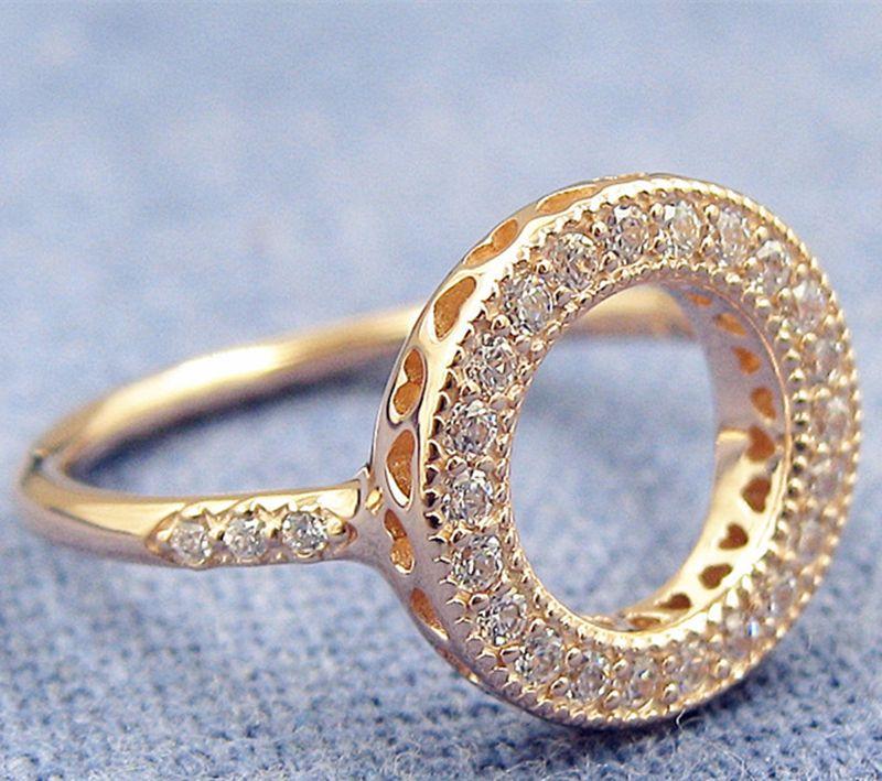 Acheter Européenne Pandora Style Plaqué Or Rose Coeurs Halo Charm Bague À  La Mode Bijoux Femmes Bague 100% 925 Sterling Silver Charm Ring De 13,63 €  ...