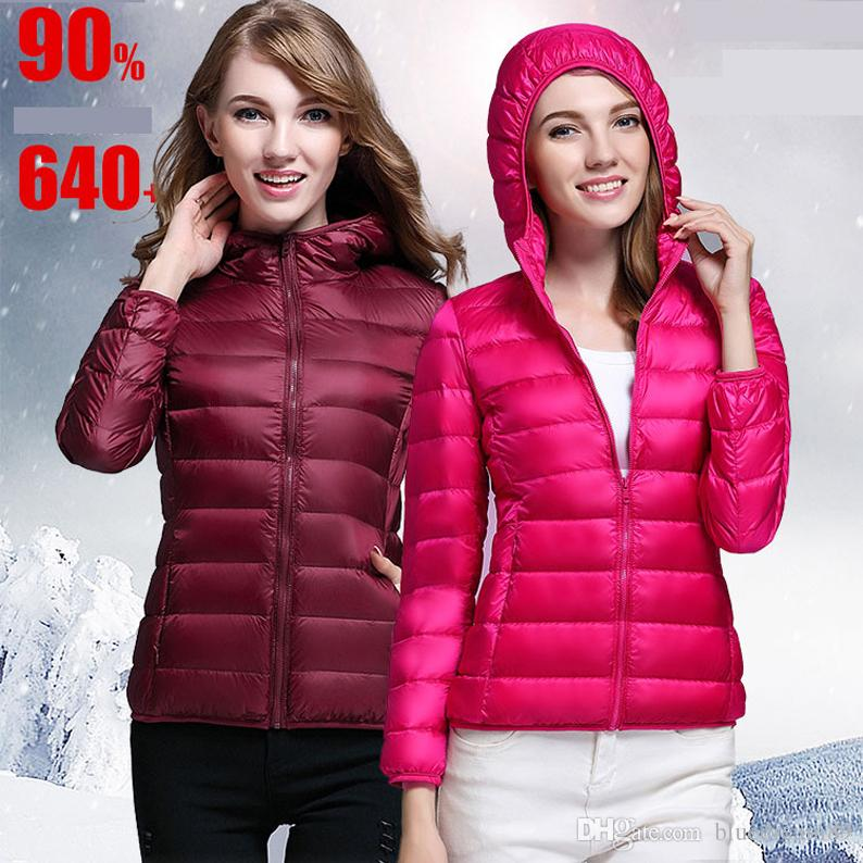 New down jacket plus size women clothing thin hooded designer coats short slim parkas canada down jacket coat Korean jackets for women