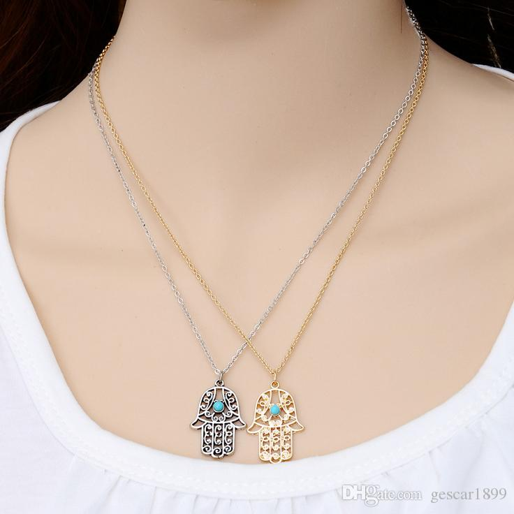 Wholesale 2017 Hot 2 Colors Fatima's Hand Blue Eyes Little Palm Pendant Necklace Buddha's-hand Jewelry Gift
