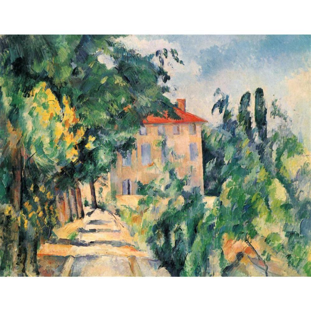 Paul Cezanne Evi tarafından hediye yağlıboyalar Kırmızı Çatı El boyalı modern sanat duvar dekor Yüksek kalite