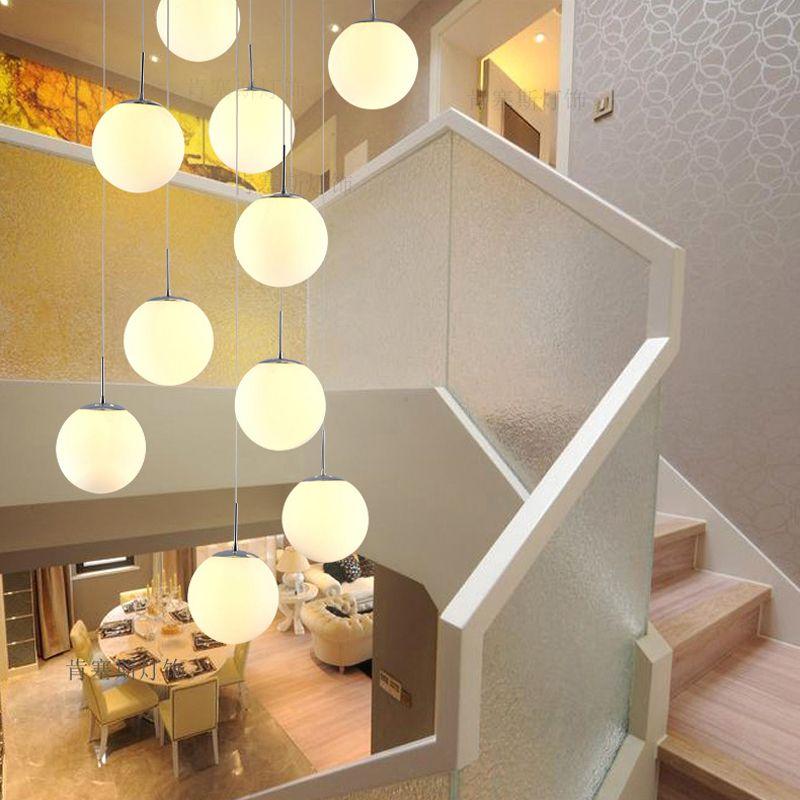 Scale Lampade a sospensione moderno semplice soggiorno ristorante arte lampadario in vetro personalità creativa villa scala duplex lampade a sospensione