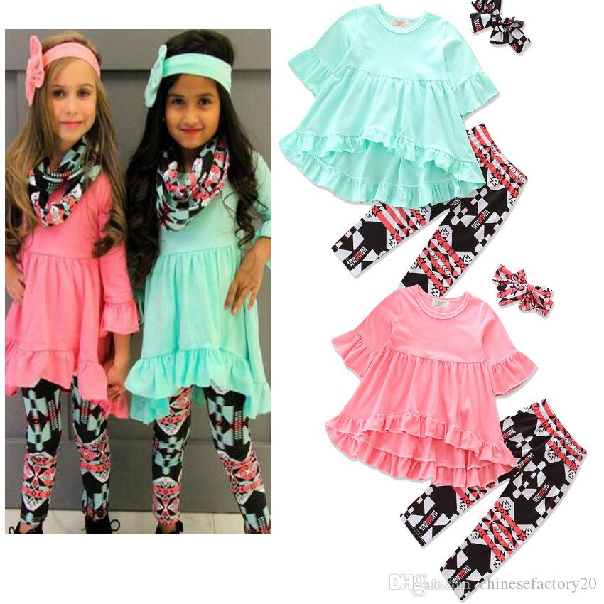 INS Baby Girls Irregular Solid Dress+Plaid Long Pants+Bow Headband Sets Toddler Printed 3pcs Bubble Skirts Outfits