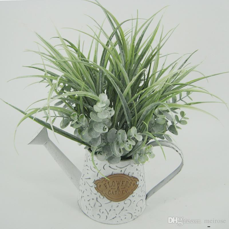 Artificial Grasses With Galvanized Plate Pots Table Flower Display Flower Green bonsai White Washed Potted plant for Home Decor 125 -1006