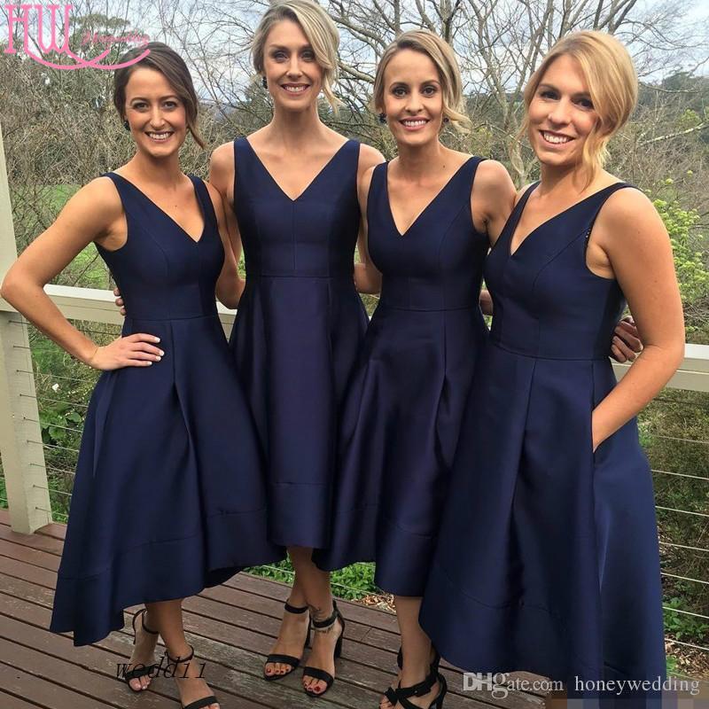 Dark Navy Blue Bridesmaid Dresses Cheap High Low V-Neck Country Bridesmaids Dress Short Front Long Back Wedding Party Dress