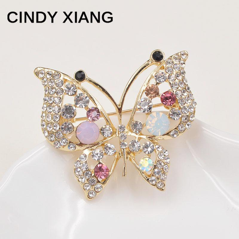 CINDY XIANG rhinestone butterfly brooches for women pins and brooches fashion jewelry scarf buckle wedding bouquets 2017 new
