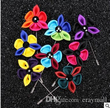 Multi-colored petals flowers brooches pins mens suits dress floral bouquet corsages for wedding party birthday gifts