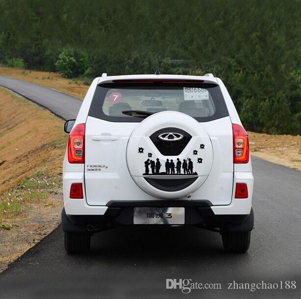 1pc Etiquetas engomadas del coche 48cm Solders Group Pattern Design Etiquetas engomadas del neumático de repuesto del coche Decoración de la rueda de repuesto Cubierta de la etiqueta engomada