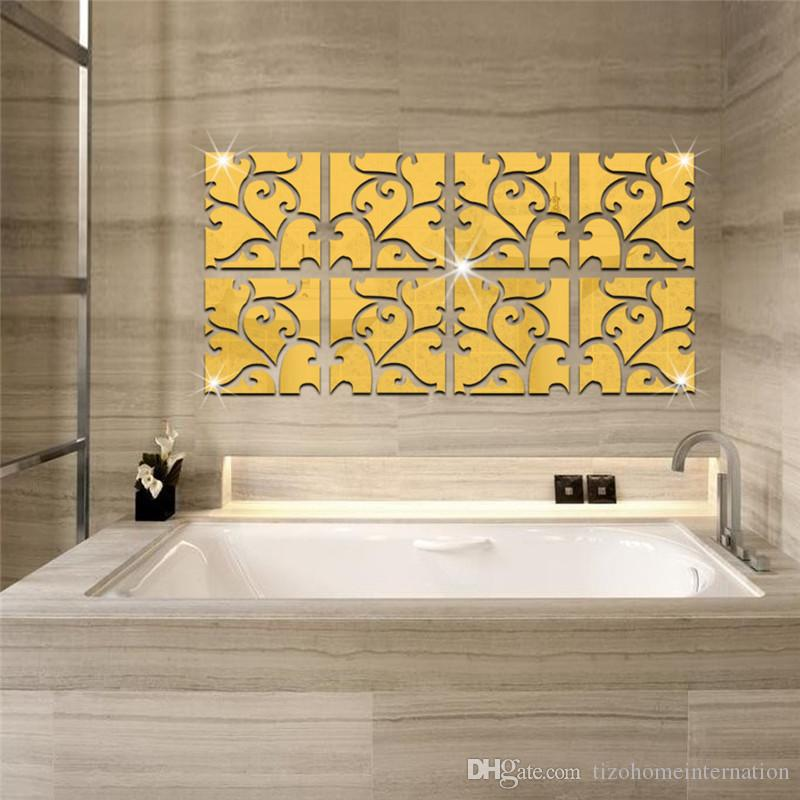 NEW WALL MIRROR DECALS STICKERS House Decoration Set of 50 pcs SQUARES