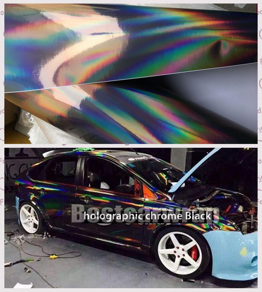 Folyo boyutunu 1.52x20m / 5x67ft kapsayan Hava kabarcığı Ücretsiz Gökkuşağı Bukalemun Krom Wrap ile Krom Siyah Holografik Vinil Film İçin otomobil sarma