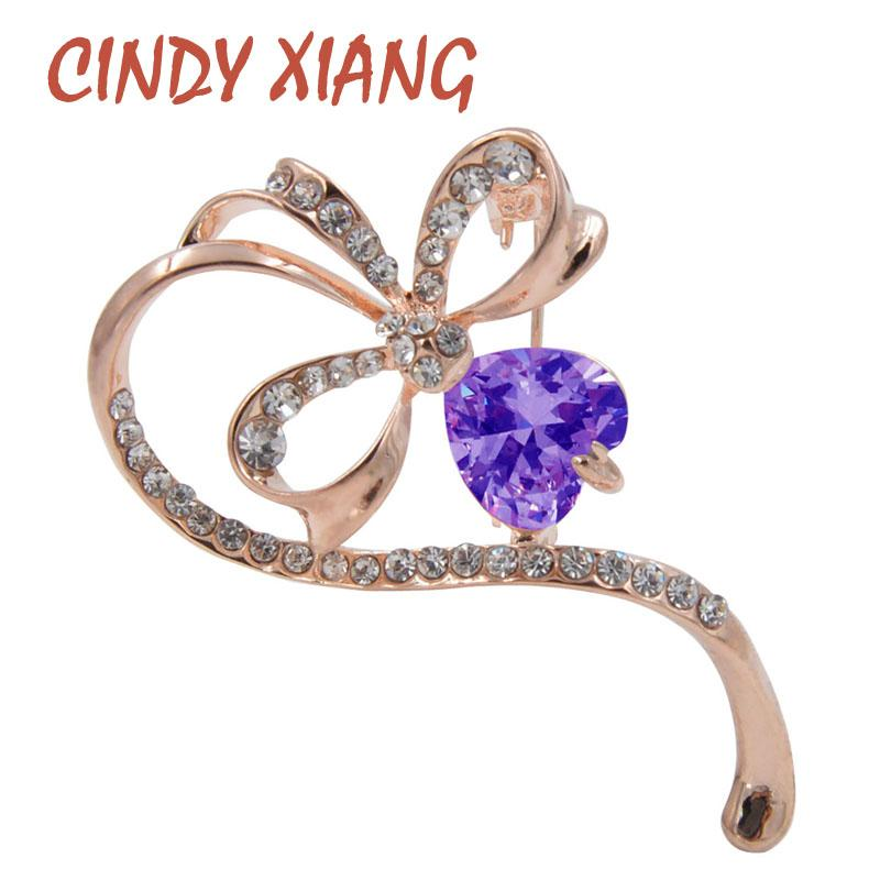 CINDY XIANG Simple Design Zircon Clover Brooches for Women Bijouterie Luxury Brooch Pin Wedding Accessories Corsage High Quality