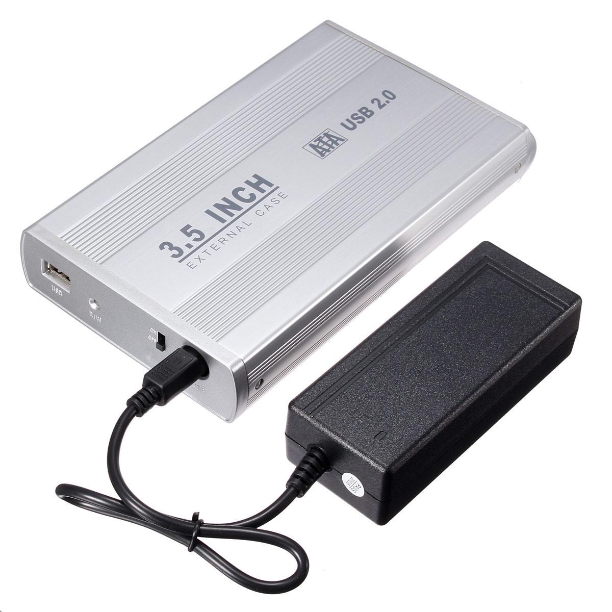 3.5 inch USB 2.0 Aluminum External SATA Hard Drive Enclosure Case Black NEW