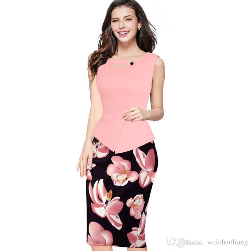 New Womens New arrival Print Floral Solid Patchwork Button Casual Work Sleeveless Bodycon Summer office Dress