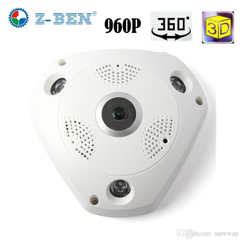 Z-BEN 1.3MP 960P Wifi IP 카메라 360도 파노라마 카메라 홈 보안 비디오 감시 야간 어안 감시 IP 카메라