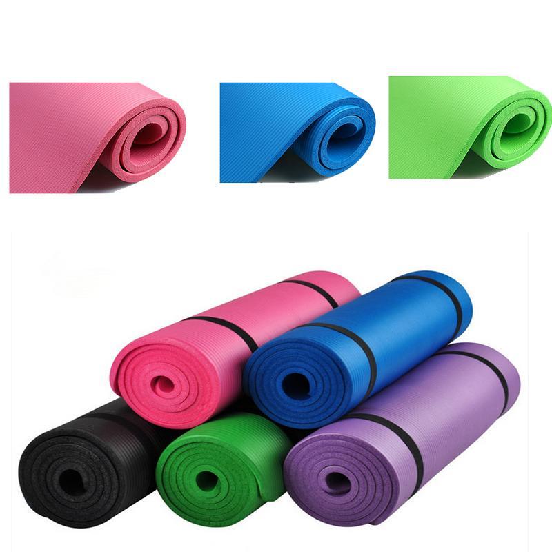 Gros-Coloré Yoga Tapis Pour-fitness Non Slip Pour Homme Fille Gym Sport Danser Perdre Du Poids Pliant Pad Mats 10 MM 5 Couleur