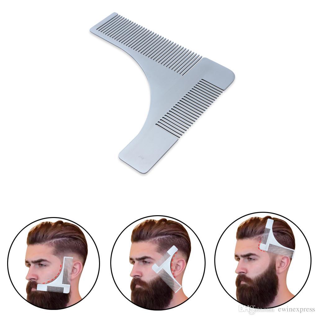 Pettine per modellatura barba in acciaio inox e pettine per styling per uomo