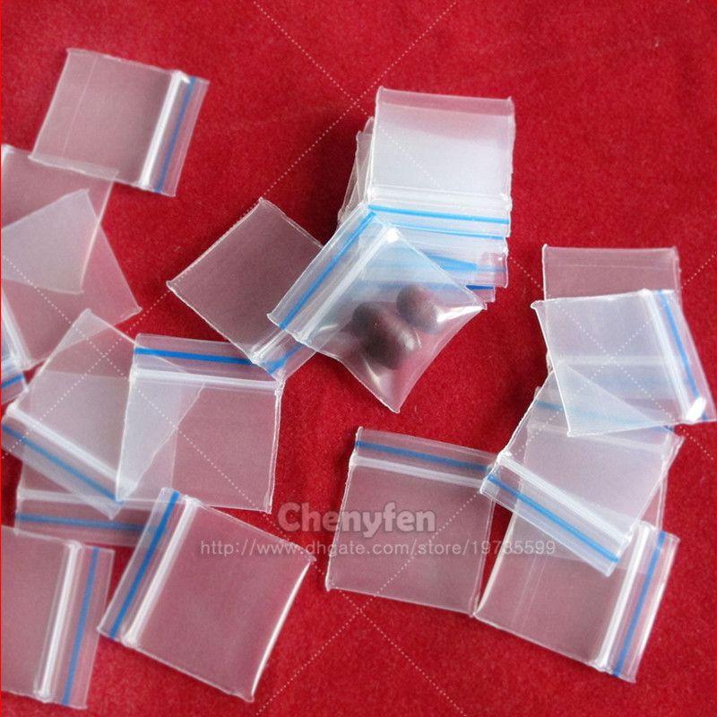 Mini Ziplock Baggies 100 Pcs (sacos de Lábio Com Linha Azul) 100 pcs Resealable Sacos de Plástico Poli Reusealbe Minúsculo Zipper Bloqueio sacos