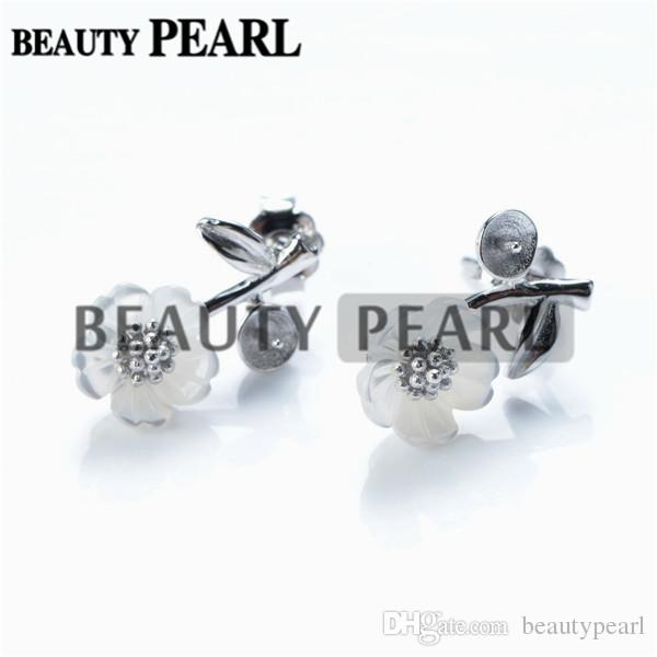 Pearl Earring Settings White Shell Flower with Leaf Earring Semi Mount 925 Silver Findings 5 Pairs