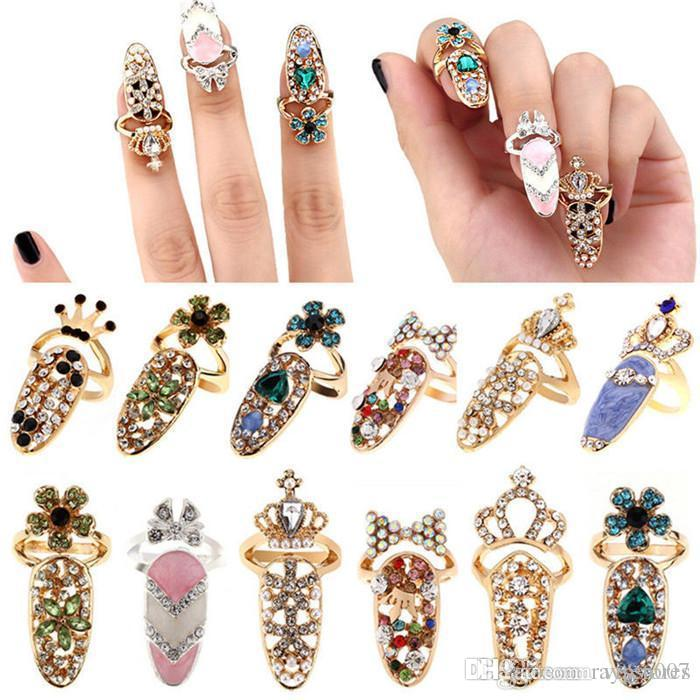 New Fashion Crystal Finger Rings Rhinestone Flower Crown Finger Nail Rings Cute Bowknot Nail Art Finger Ring for girls Beauty Jewelry