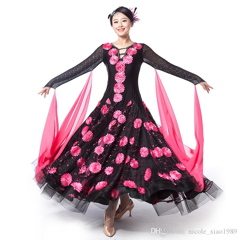 4color Hochwertige Stickerei Kleid modernen Erwachsenen Walzer Tango Foxtrot Quickstep Kostüm Wettbewerb Kleidung Standard Ballroom Dance Rock