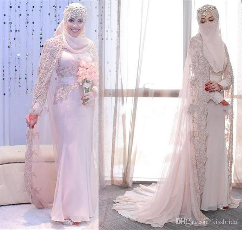 Великолепные арабские мусульманские свадебные платья высокой шеи кружевной аппликации длинные рукава оболочки розовые свадьбы свадебные платья с обернутами