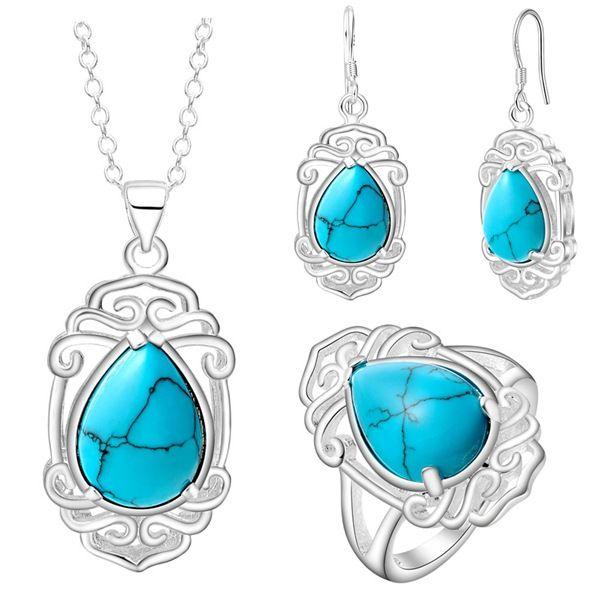 Gioielli in argento spessa di nuova moda e bella di bel set di gioielli all'ingrosso turchese