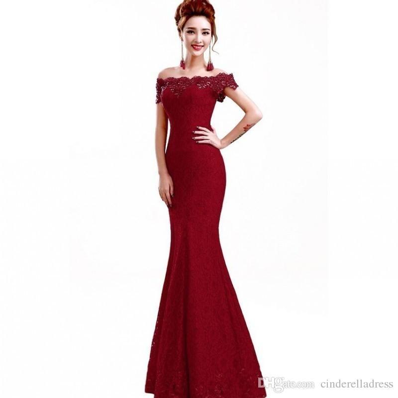 Compre Barato Rojo Elegante Vestidos De Noche Largos Vestidos De Fiesta Sirena Fuera Del Hombro Del Bordado Del Barco Cuello Vestido De Noche De