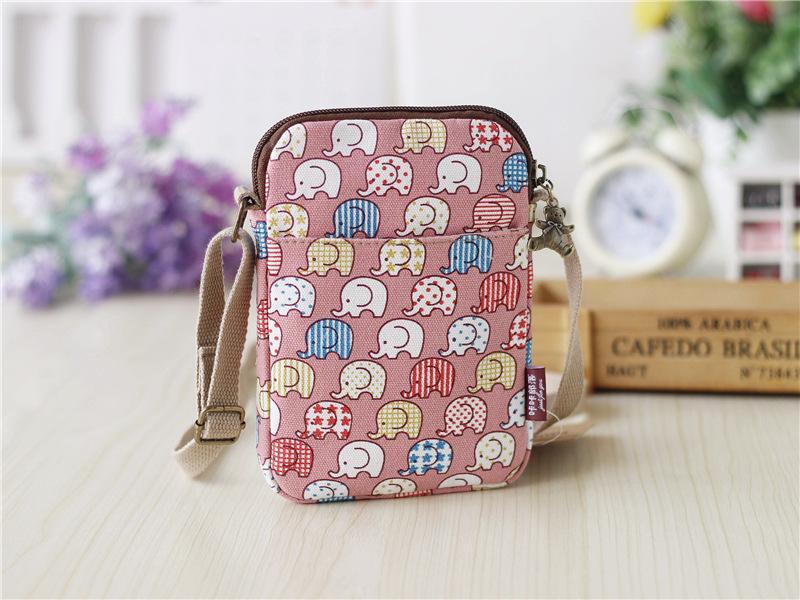 Nueva impresión solo bolso del mensajero del hombro del bolso de la manera de la señora de la lona de la carpeta ocasional estudiante popular monedero multi-estilo no211