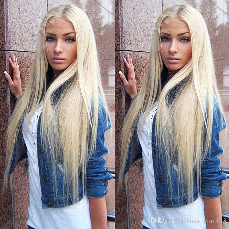 Fashion Long Silky Straight Blonde Synthetic Lace Front Wig Glueless Heat Resistant Fiber Hair Women Wigs With Baby Hair Medium Parting Wigs