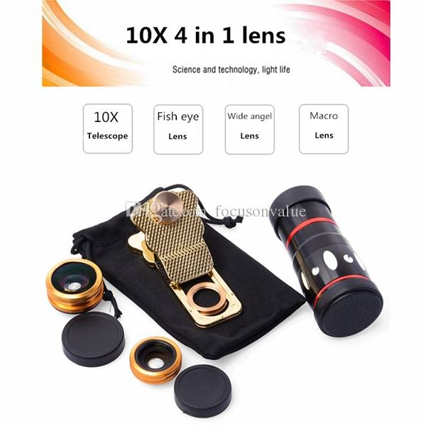 Universal 4 in 1 Clip 10X Zoom Telescope lens Fisheye Wide Angel Macro Lens For iPhone SE 6 6S Plus Samsung S7 smartPhone