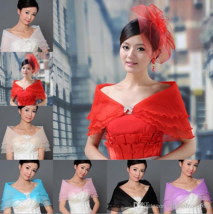 Freies Verschiffen neueste Art heißer Verkauf Brautschalkristallknöpfe 3 Schichten Chiffon- Verpackungen Jacken Hochzeitskleidzusätze shuoshuo6588