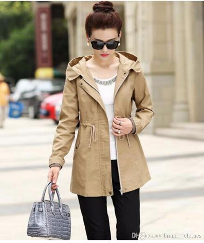 Qiu 동 한 판 비즈니스 레저 패션 영국 여성 캐릭터의 새로운 트렌드 허용 허리 쇼 얇은 트렌치 코트 / M - 4xl