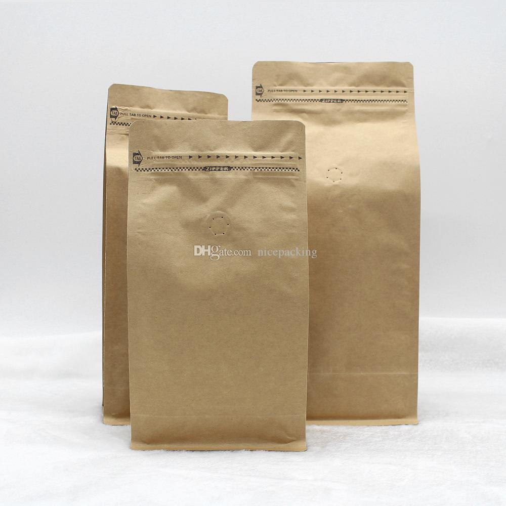 stand up coffee bean/tea packing bag kraft paper bag with air valve open design with zipper 265*135*75cm 500pcs free shippping by DHL