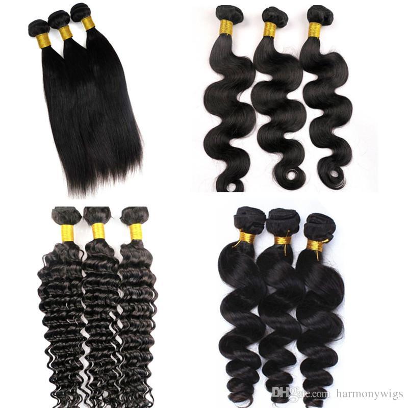 Mink Virgin Hair Extensions Menselijk Haarbundels WEKS 8-34inch Onverwerkte Braziliaanse Peruaanse Indiase Mongoolse Maagdelijke Remy Menselijk Haar Weeft