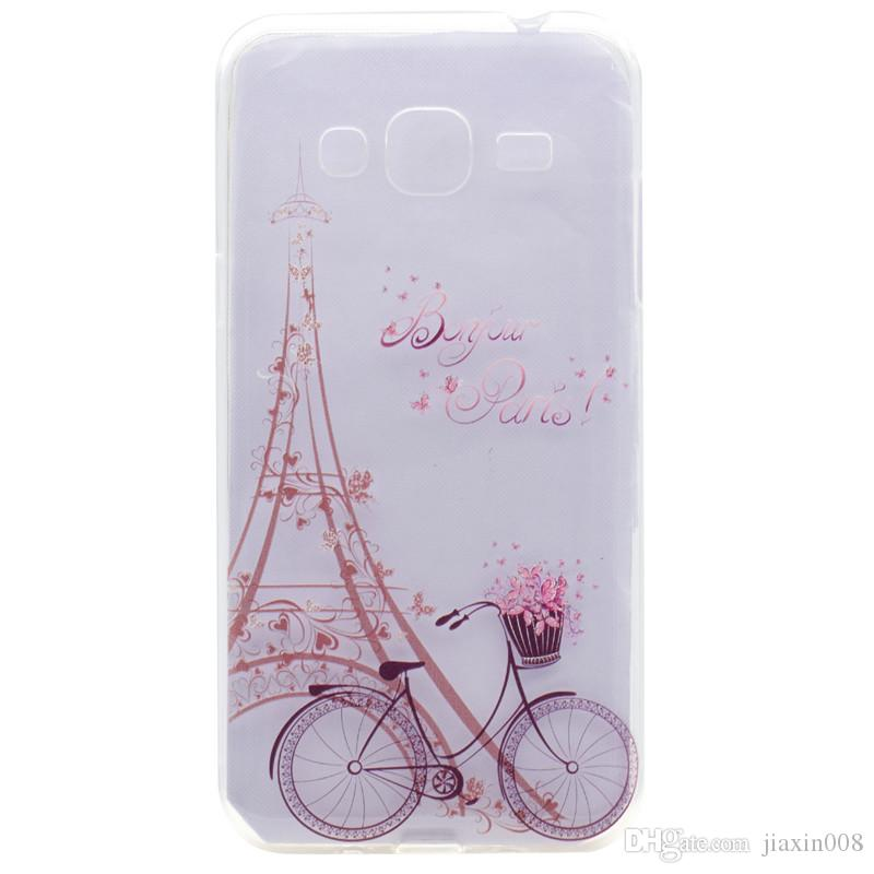 Cubierta transparente de TPU para Samsung Galaxy J3 J310 J3 2016 caso de moda torre de la bicicleta de la mariposa de la muchacha diseño de la pluma cajas del teléfono móvil